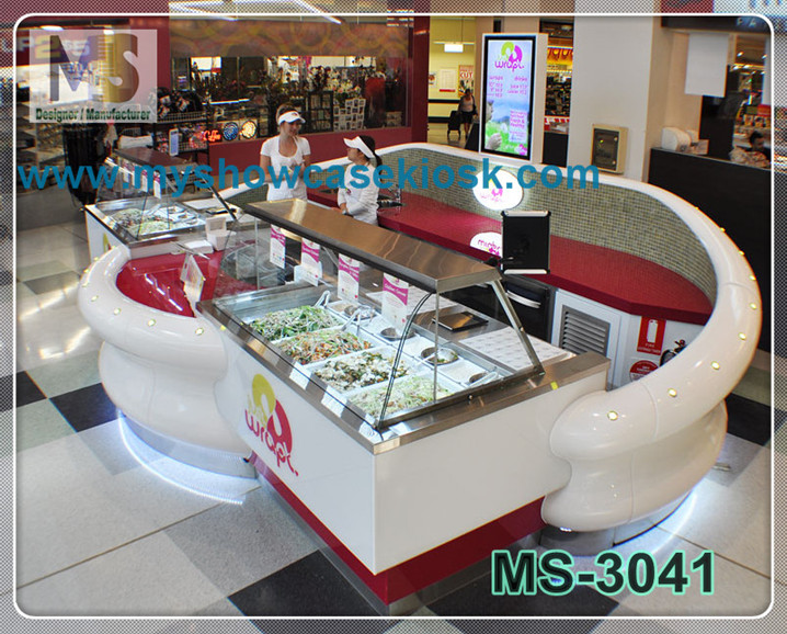 Mall food kiosk design indoor for sale with back wall for Indoor food kiosk design