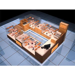 China manufacture 3D wooden waffle kiosk design-SY021--food