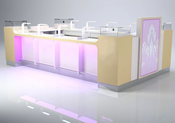 chic design customize commercial mall manicure kiosk with led lighting