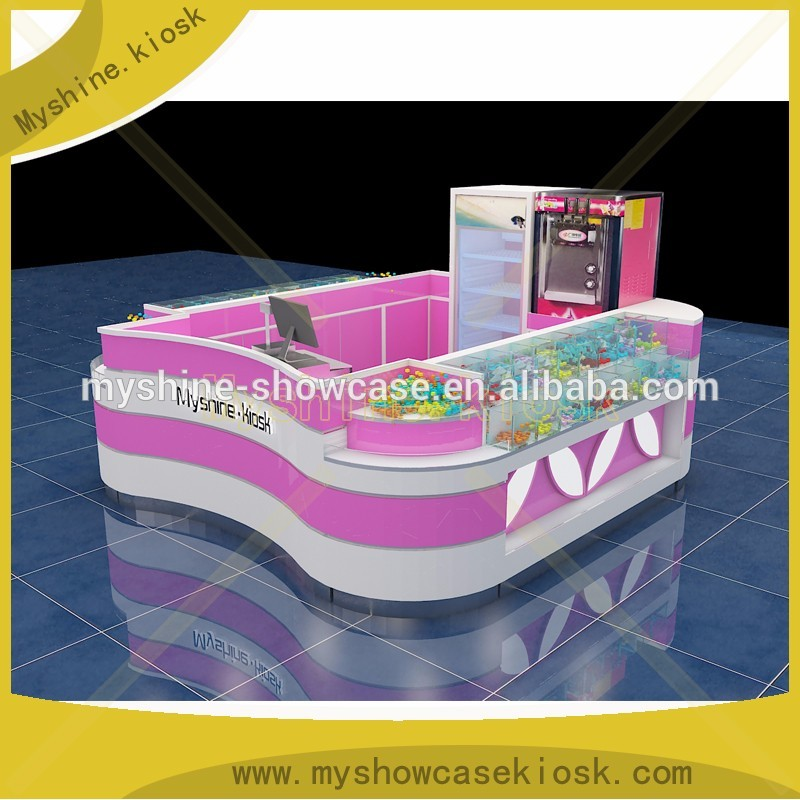 easy installed prefab cell phone accessories kiosk with cashier counter